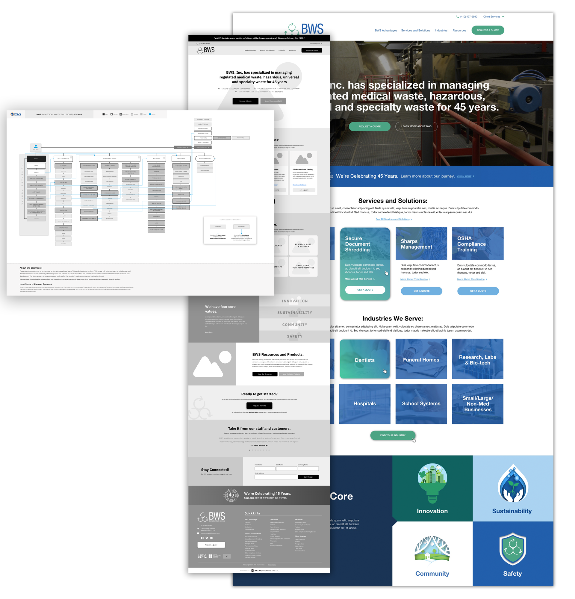 Annapolis Website Designer Sitemap, Flow Chart and Colored Mock